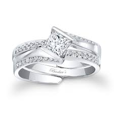 interlocking engagement ring wedding band stylish square diamond rings low set princess cut bridal set