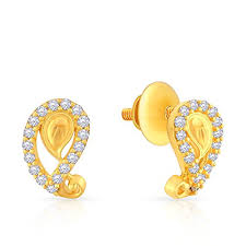 malabar earrings malabar gold and diamonds 22k yellow gold and cubic zirconia stud