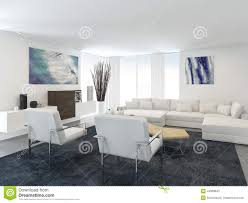 modern living room in apartment with large windows stock