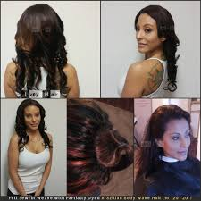 full sew in weave with partially dyed brazilian body wave hair
