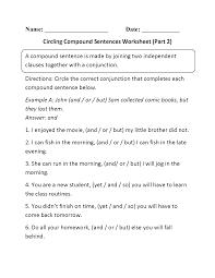 sentences worksheets compound sentences worksheets