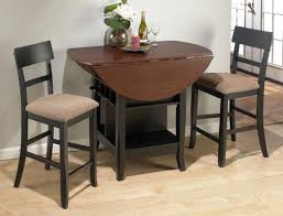 delightful round dining table and chair set space saver black