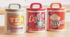 vintage retro kitchen canisters jars pots tins set coffee tea