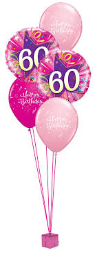 birthday balloon bouquets pink 60th birthday balloon bouquet party fever