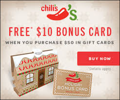 gift cards deals hot chili s free 10 gift card with 50 purchase faithful saver