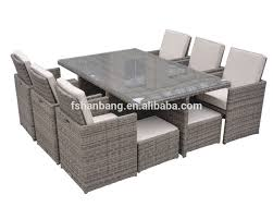 outdoor garden patio 9 piece resin wicker dining cube table chair