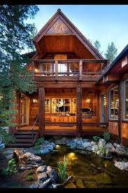 cabin style houses amazing cabin style house and pond landscaping home ideas