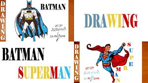 draw batman superman easy kids body paper