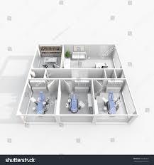 3d interior rendering furnished dental clinic stock illustration