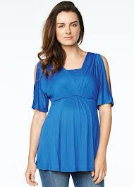 maternal america maternal america royal blue split sleeve nursing top