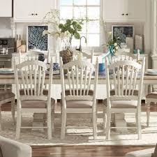 tribecca home mckay country antique white slat back dining chair