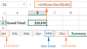 excel 3d reference and 3d formula to calculate multiple sheets