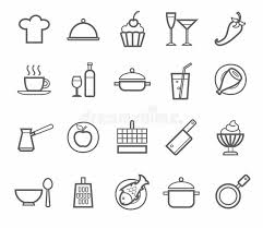dessin ustensile de cuisine signes icônes cuisine restaurant café nourriture boissons
