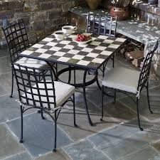 Tile Bistro Table 5 Piece Carnival Checkerboard Marble Mosaic Bistro Set From Alfresco