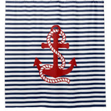 Nautical Anchor Shower Curtain Red White And Blue Shower Curtains Zazzle