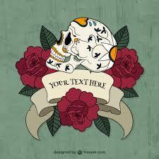 sugar skull with roses and a ribbon vector free