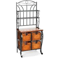 Metal And Wood Bakers Rack Iron Wicker Baker U0027s Rack Walmart Com