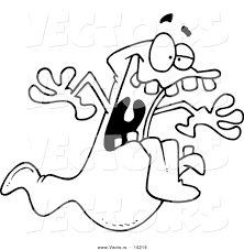 vector cartoon spooky ghost outlined coloring drawing