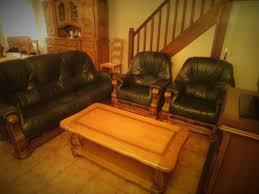 canapé cuir et bois rustique salon rustique cuir clasf