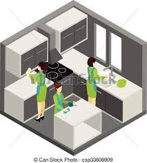 nettoyage cuisine isométrique aide pictogramme ménage nettoyage cuisine