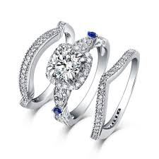 ring sets cut s925 silver white sapphire 3 halo ring sets
