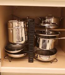 how to organize pots and pans in a cupboard new d5 all clad pots pans and cabinet organizer