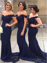 mermaid off the shoulder long navy blue lace prom evening formal