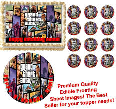 edible images theft auto v gta 5 edible cake topper image frosting sheet all sizes