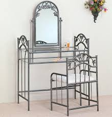 Makeup Vanity Canada Bedroom Gray Iron Mirrored Makeup Vanity With Glass Top And