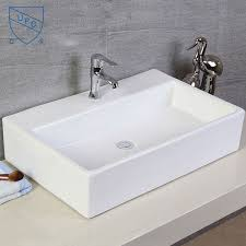 white rectangle ceramic above counter basin cl 1099 decoraport usa