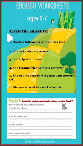 first grade english worksheets wizard of oz themed gym craft