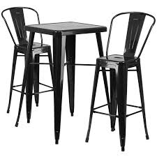 Outdoor Bar Stools With Backs 23 75 U0027 U0027 Square Black Metal Indoor Outdoor Bar Table Set With 2