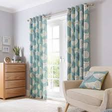 Teal Curtain Emmott Teal Lined Eyelet Curtains Dunelm