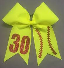personalized bows yellow softball stitch personalized bow