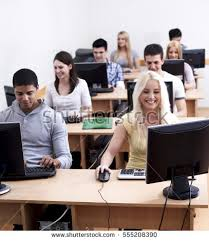 Picture Of Student Sitting At Desk Students Computer Lab Stock Images Royalty Free Images U0026 Vectors