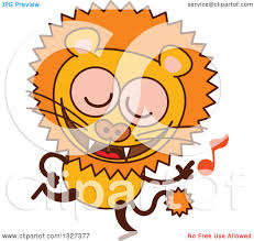 clipart of a cartoon male lion dancing to music royalty free