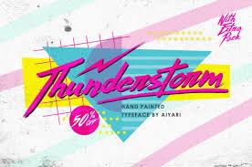 80s design 80s inspired hand made brush script thunderstorm typeface only