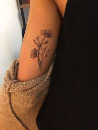 poppies wildflower on inner arm small tattoos