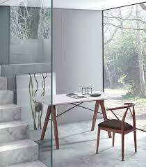 Modern White Desk by White Desk With Walnut Legs Z147 Desks