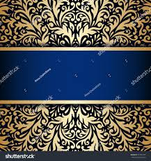 Gold Invitation Card Vector Vintage Floral Decorative Background Design Stock Vector