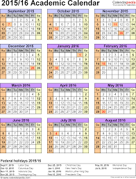 academic calendars 2015 2016 as free printable pdf templates