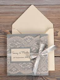 vintage wedding invitations grey and lace wedding invitation pocket fold wedding