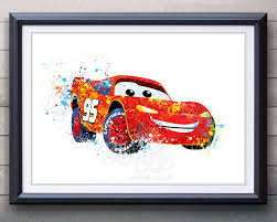 disney pixar cars lightning mcqueen watercolor poster print wall disney pixar cars lightning mcqueen watercolor poster print wall decor watercolor painting watercolor