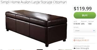 40 X 40 Storage Ottoman Simpli Home Avalon Large Storage Ottoman For 119 99 Shipped