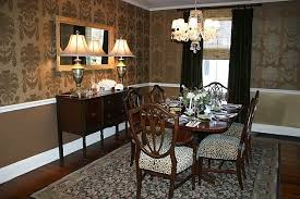dining room in gold wallpaper from thibaut