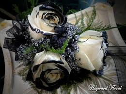 black and white corsage 057 roses corsage