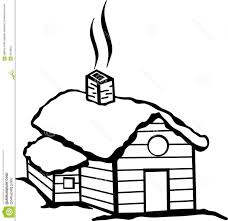 cabin clipart black and white