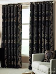 Red And Gold Damask Curtains Damask Black U0026 Gold Heavy Luxury Designer Eyelet Curtain