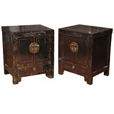 pair of qing dynasty chinese bedside lacquered cabinets from the