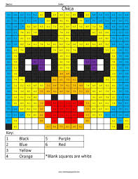 chica fnaf math fact coloring coloring squared